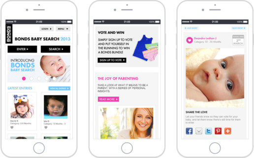Bonds Baby Search 2013 mobile screens