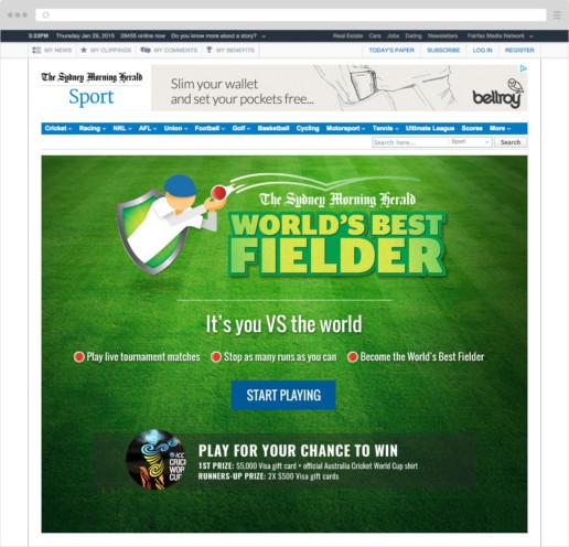 World's Best Fielder desktop welcome screen